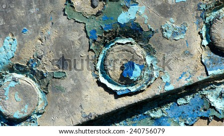 Fishing boat paint worn out - stock photo