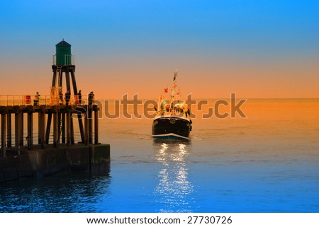 Fishing boat returning to Whitby harbor with added color - stock photo