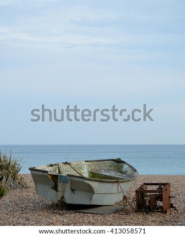 Fishing Boat Scene in Brighton - stock photo