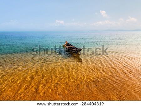 Fishing boat. Seascape. - stock photo