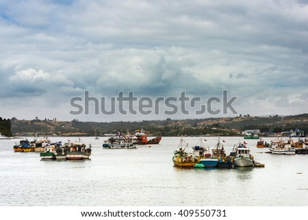 Fishing boats at Dalcahue on the Chiloe island - stock photo