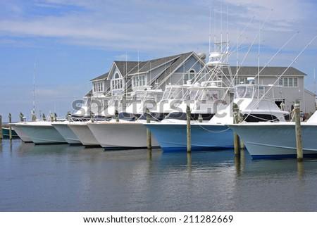 Fishing Boats at Hatteras - stock photo
