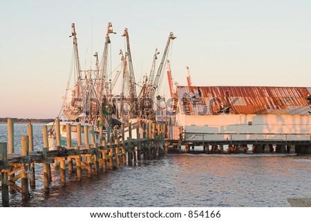 Fishing boats at pier in Fernadina Beach, Florida - stock photo