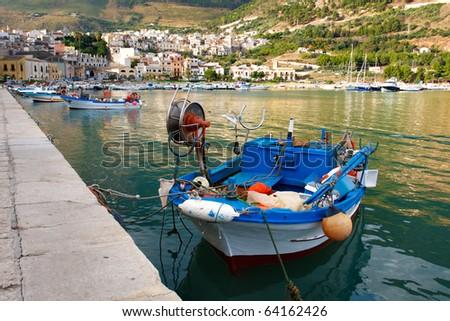 Fishing boats docked in the harbor,Sicily - stock photo