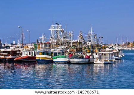 Fishing boats fleet in Harbor, Zadar, Dalamtia, Croatia - stock photo