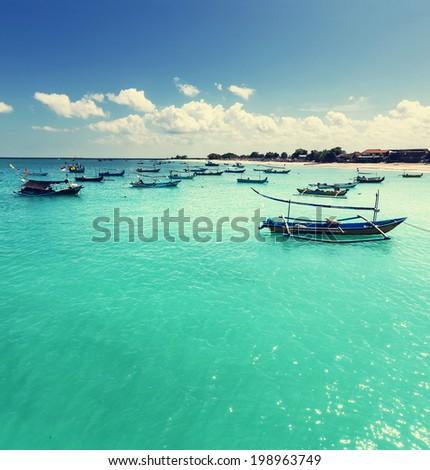 Fishing boats in Bali - stock photo