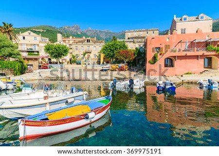Fishing boats in Erbalunga village on Cap Corse, Corsica island, France - stock photo