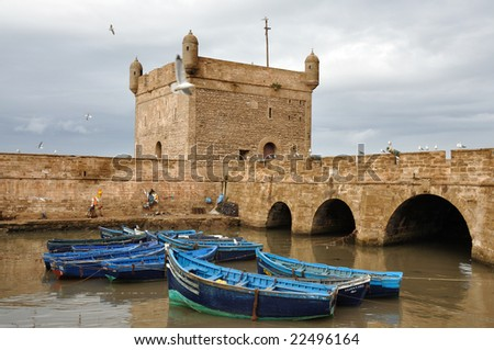 Fishing boats in Essaouria, Morocco - stock photo