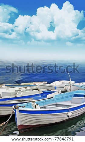 fishing boats in harbour - stock photo