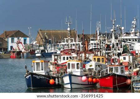 Fishing boats in Howth harbor, Howth ( Dublin), Ireland in September 2014 - stock photo