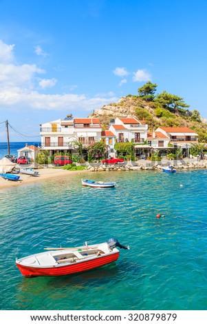 Fishing boats in Kokkari bay, Samos island, Greece - stock photo