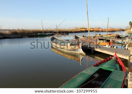 Fishing boats in La Albufera nature reserve, El Palmar, Valencia, Comunidad Valenciana, Spain. - stock photo
