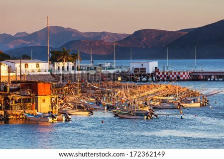 Fishing boats in Mexico - stock photo