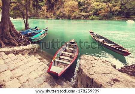 Fishing boats in Mexico - stock photo