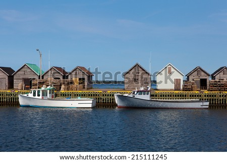 Fishing boats in port. - stock photo