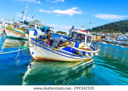 Fishing boats in port, Greece - stock photo