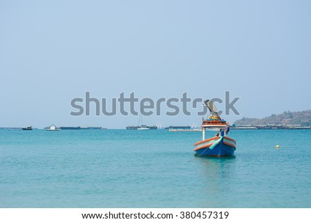 fishing boats in Thailand. - stock photo