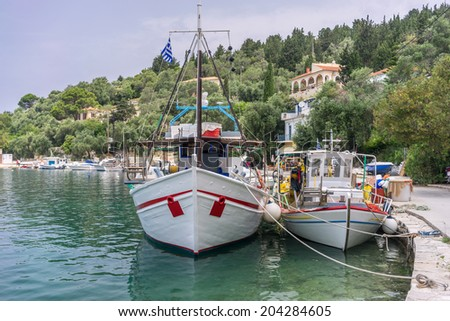 Fishing boats in the bay of Lakka