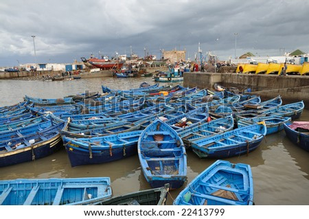 Fishing boats in the harbor of Essaouria, Morocco - stock photo