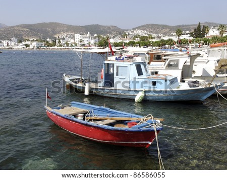 Fishing boats in the resort of Bodrum Turkey - stock photo