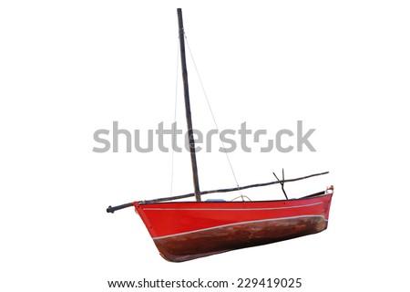 fishing boats isolated on white background - stock photo