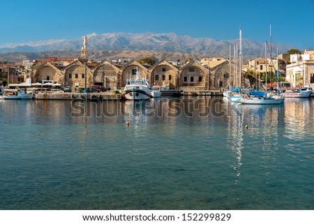 Fishing boats moored at Chania harbour. Crete, Greece, - stock photo