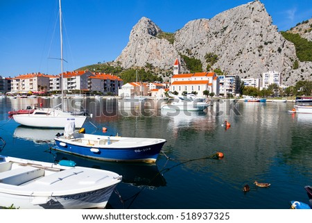 Fishing Boats on Cetina River in OMIS, CROATIA on 25 SEPTEMBER 2016