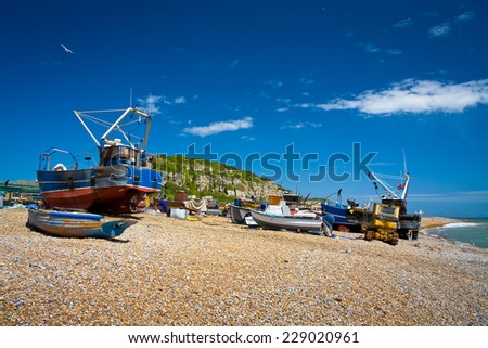 Fishing boats on the beach in Hastings, East Sussex, UK. - stock photo