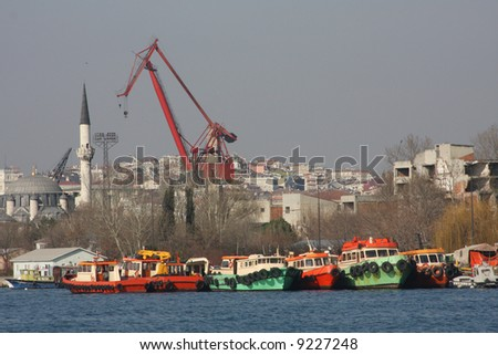 Fishing boats on the dock at the golden horn in Istanbul