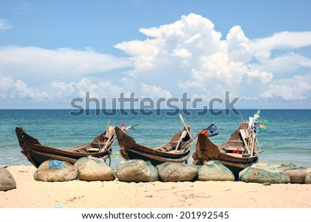Fishing boats on the Vietnamese coast.