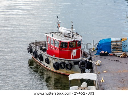 Fishing boats tied up at a dock near Boston - stock photo