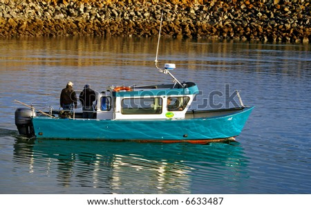 Fishing buddies going out - stock photo