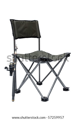 fishing chair and rod isolated on white background - stock photo
