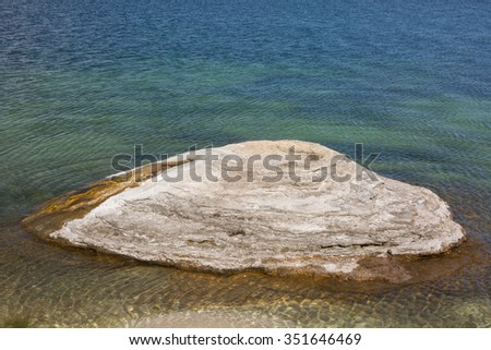 Fishing cone in the West Thumb geyser basin. - stock photo