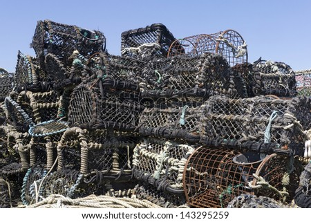 Fishing equipment; lobster and crab pots, nets etc  - stock photo