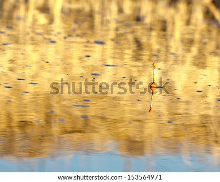 Fishing float in the water - stock photo