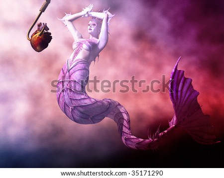 Fishing for Mermaids with human heart on a giant tuna hook. Illustration - stock photo