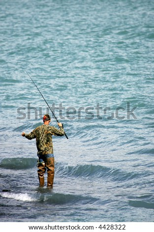 Fishing for salmon in Alaska - stock photo