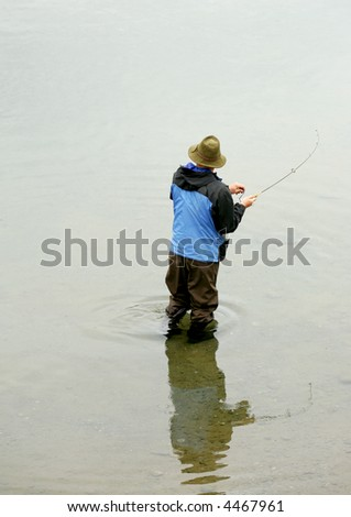 Fishing for salmon, Katmai National Park, Alaska - stock photo