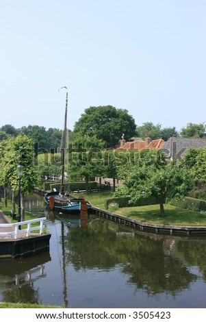 fishing harbor at heritage museum of enkhuizen in holland