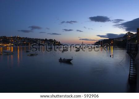 Fishing Harbor Sunset - stock photo