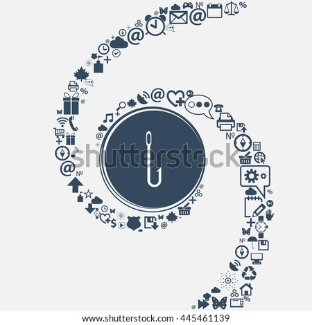 Fishing hook icon sign in the center. Around the many beautiful symbols twisted in a spiral. You can use each separately for your design. illustration - stock photo