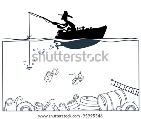 Fishing in polluted environment. Outline drawing.