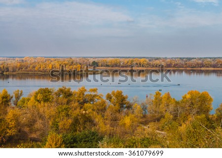 Fishing in the fall on the wide river Dnepr