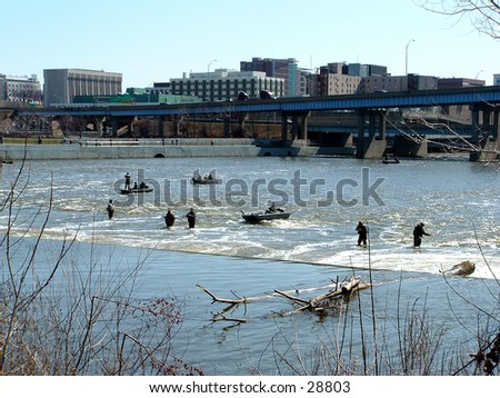 fishing in the Grand River - stock photo
