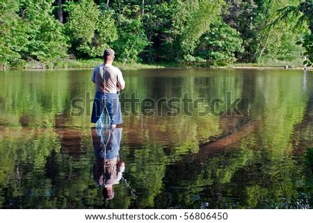 Fishing in the Lake - stock photo