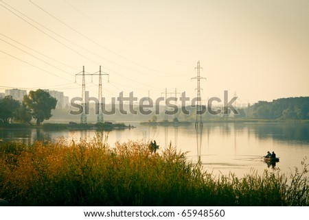 fishing in the morning, landscape
