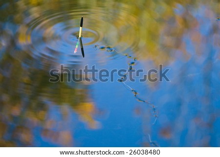 fishing line on water surface in autumn light - stock photo