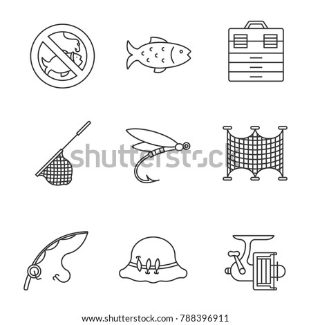 Fishing linear icons set. No fishing sign, tackle box, landing nets, fly fishing, spinning reel, motor rubber boat, fisherman's hat. Thin line contour symbols. Isolated raster outline illustrations