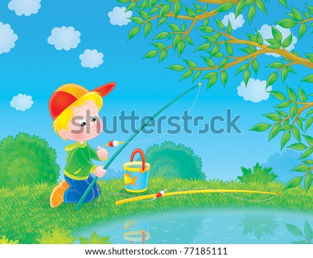 Fishing little boy - stock photo